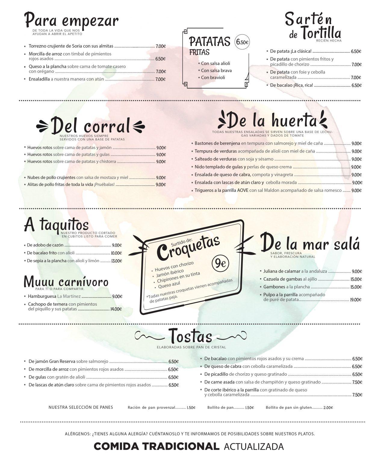 Carta restaurante La Martínez