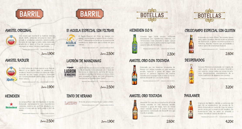 Carta de cervezas La Martínez